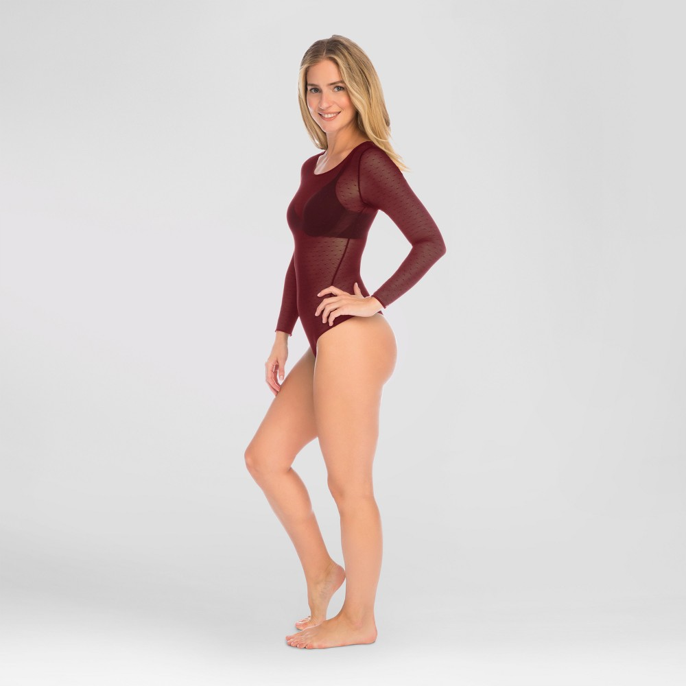 Assets by Spanx Womens Point D Esprit Body Suit - Cranberry (Red) 1X