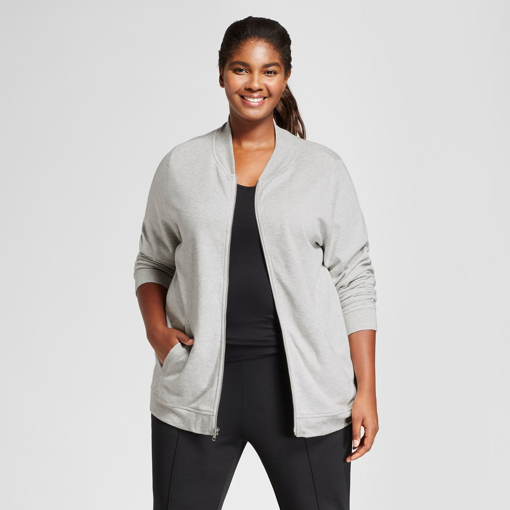 Womens Plus Size Leisure Layering Bomber - Ava & Viv Heather Gray 3X