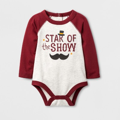 Baby Boys' 'STAR of the SHOW' Bodysuit with Raglan Sleeve - Cat & Jack™ Oatmeal 6-9M