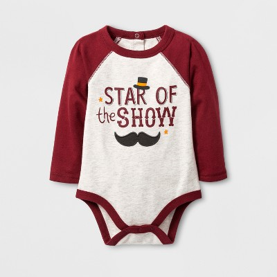 Baby Boys' 'STAR of the SHOW' Bodysuit with Raglan Sleeve - Cat & Jack™ Oatmeal 12M