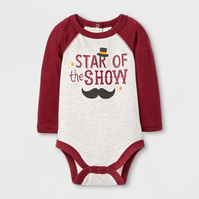 Baby Boys' 'STAR of the SHOW' Bodysuit with Raglan Sleeve - Cat & Jack™ Oatmeal 3-6M