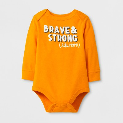Baby Boys' 'Brave & String (like MOM!)' Bodysuit - Cat & Jack™ Russet Orange 6-9M