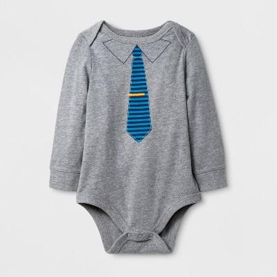 Baby Boys' Bodysuit with Tie - Cat & Jack™ Gray/Blue 12M