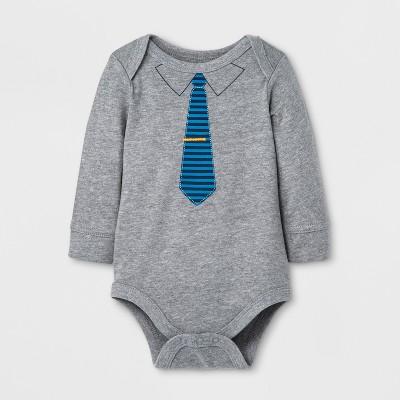 Baby Boys' Bodysuit with Tie - Cat & Jack™ Gray/Blue 18M