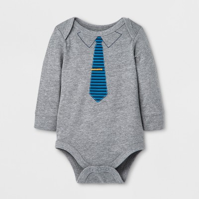 Baby Boys' Bodysuit with Tie - Cat & Jack™ Gray/Blue 0-3M