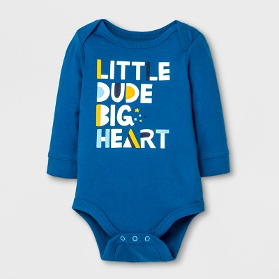 Baby Boys' 'Little Dude Big Heart' Bodysuit - Cat & Jack™ Atlantis Turquoise NB