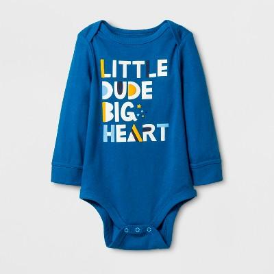 Baby Boys' 'Little Dude Big Heart' Bodysuit - Cat & Jack™ Atlantis Turquoise 12M