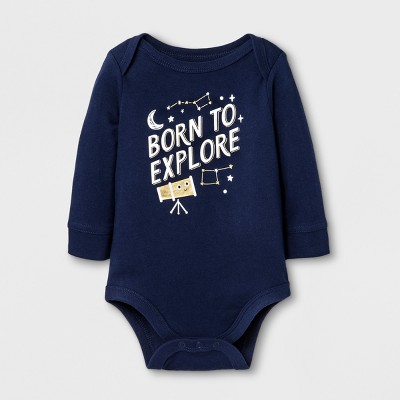 Baby Boys' 'BORN TO EXPLORE' Bodysuit - Cat & Jack™ Nightfall Blue 0-3M