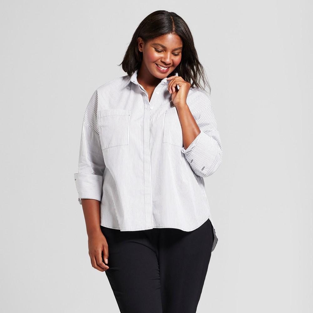 Womens Plus Size Oversized Button Down - A New Day White Stripe 4X