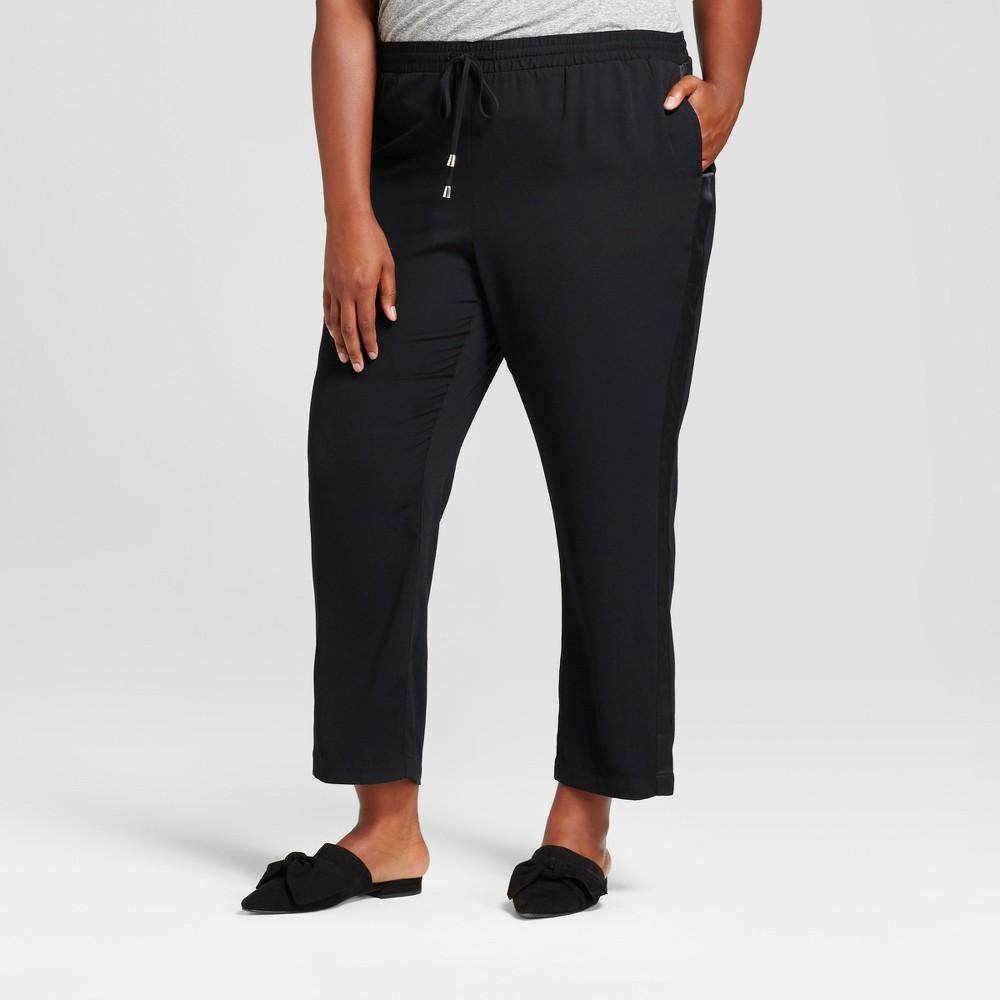 Womens Plus Size Crepe Ankle Joggers - A New Day Black 2X