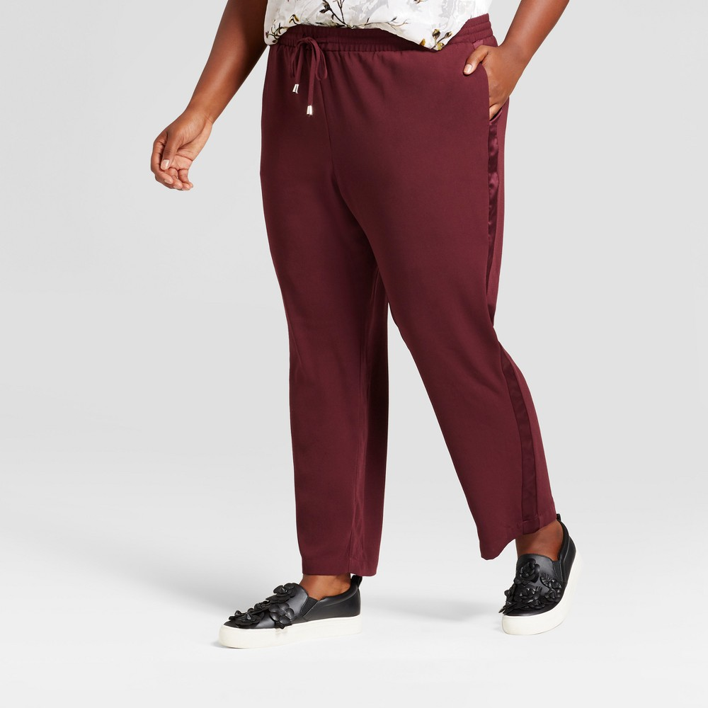 Womens Plus Size Crepe Ankle Joggers - A New Day Berry X, Red