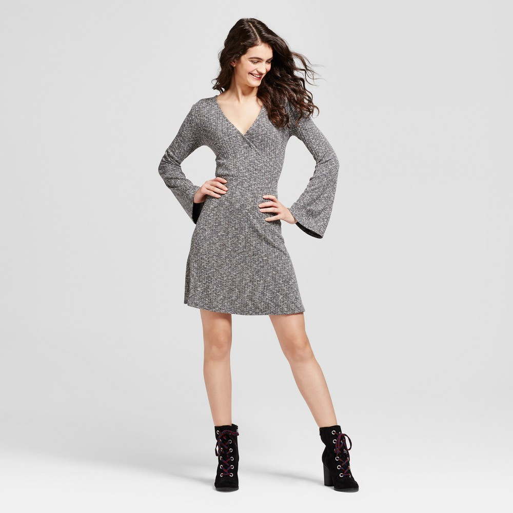 Womens Long Sleeve Knit Surplice Dress - Mossimo Supply Co. Black L