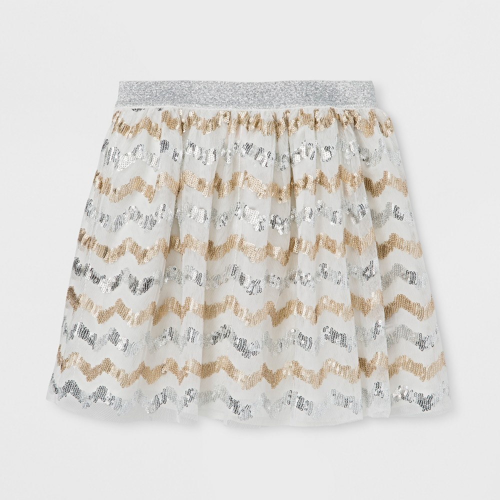 Girls Chevron Sequin Tutu Skirt - Cat & Jack Almond Cream M, White