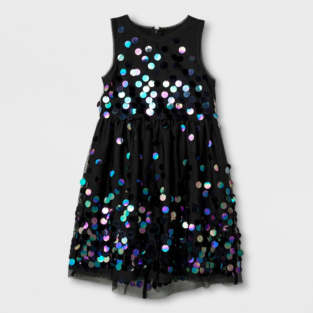 Plus Size Girls Sequins Dress - Cat & Jack Black Xxl Plus