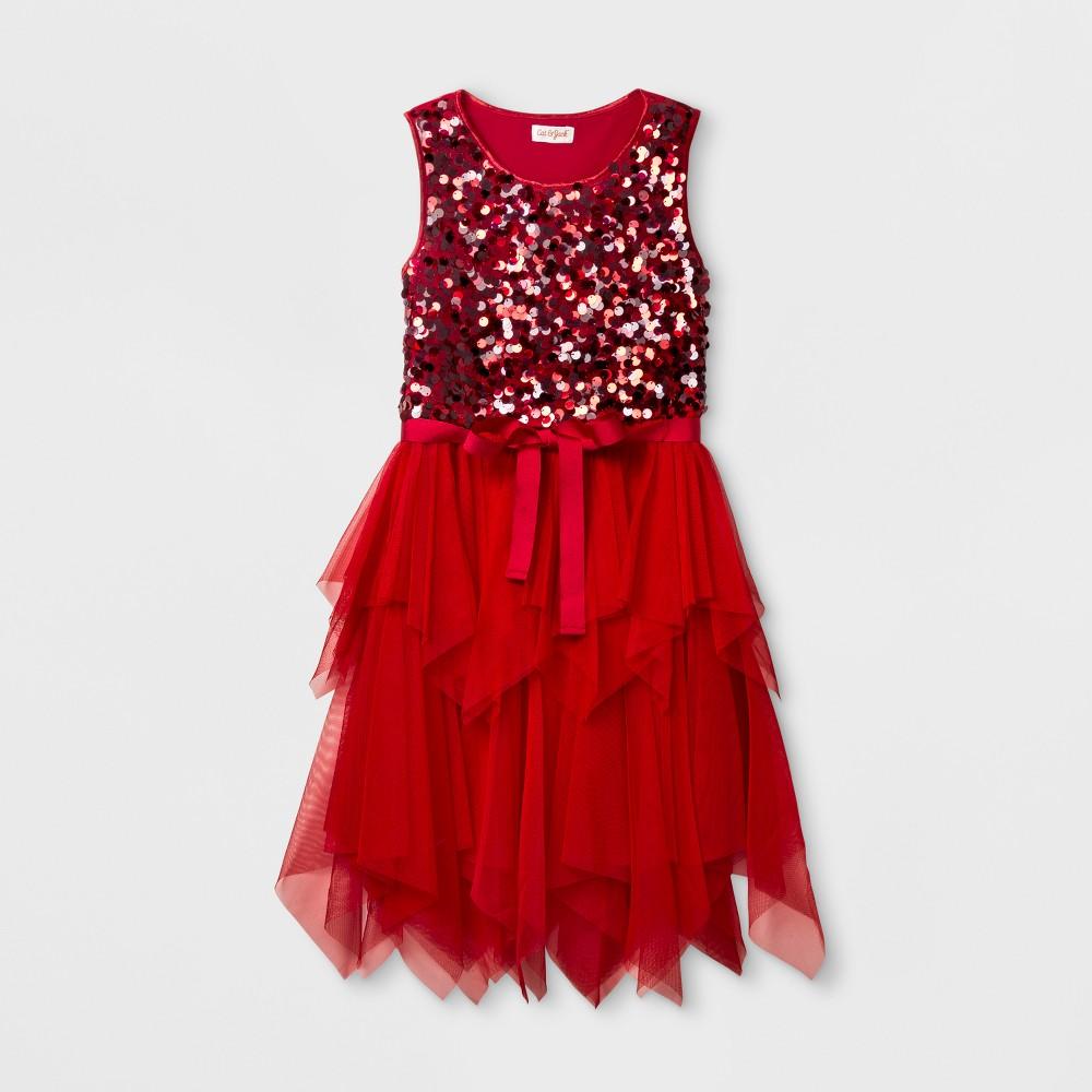 Girls Sequins Dress - Cat & Jack Red XS