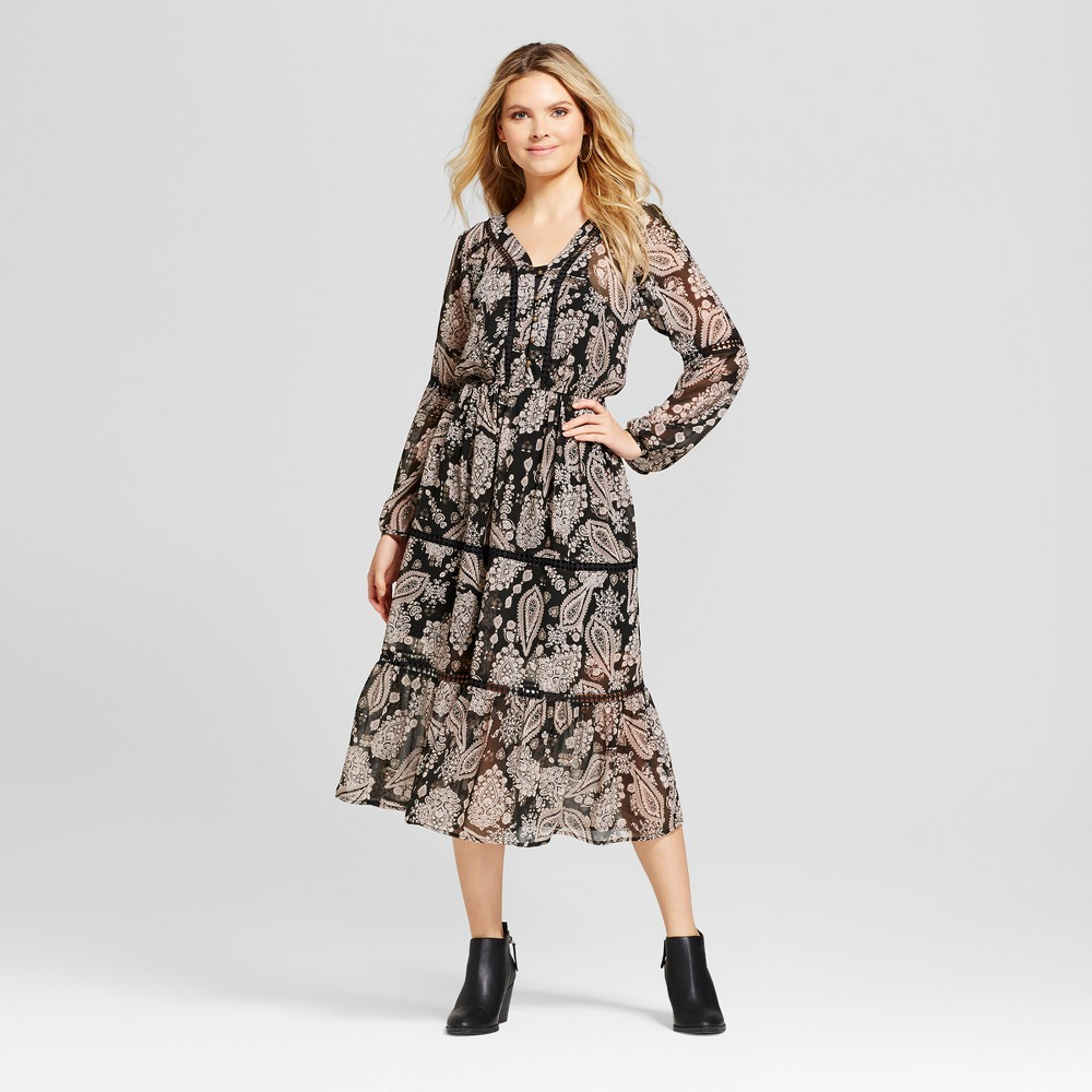 Womens Printed Button Front Midi Dress - Knox Rose Black M, Multicolored