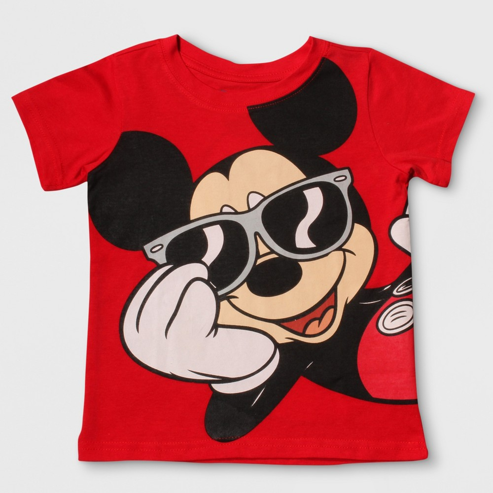 Toddler Boys Mickey Mouse Short Sleeve T-Shirt - Red 3T