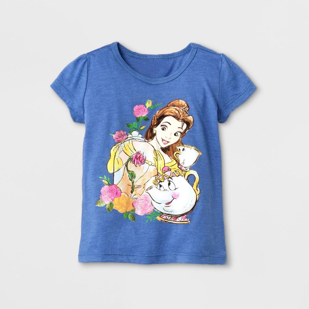 Toddler Girls Belle Short Sleeve T-Shirt - Disney Princess Blue 2T