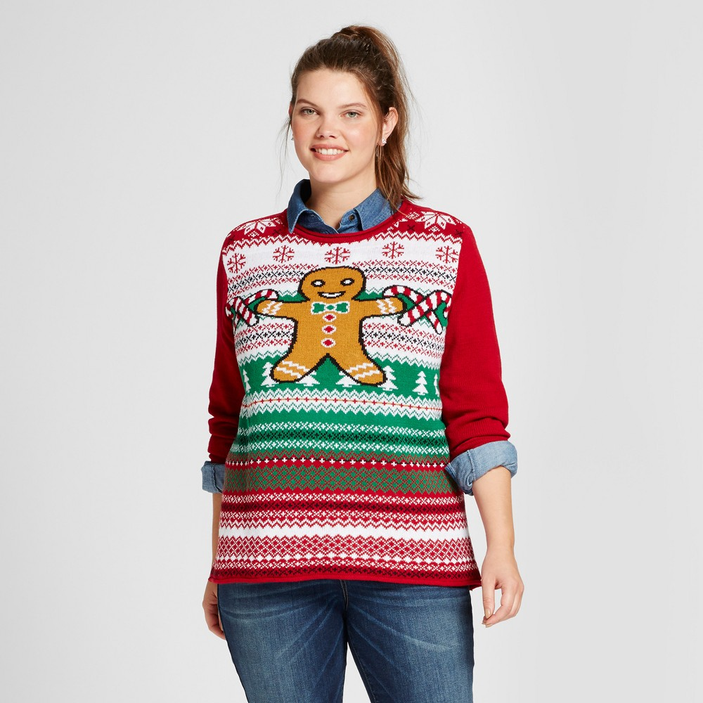 Womens Plus Size Light Up Fairisle Gingerbread Man Pullover Sweater - Ugly Christmas Sweater Red 2X