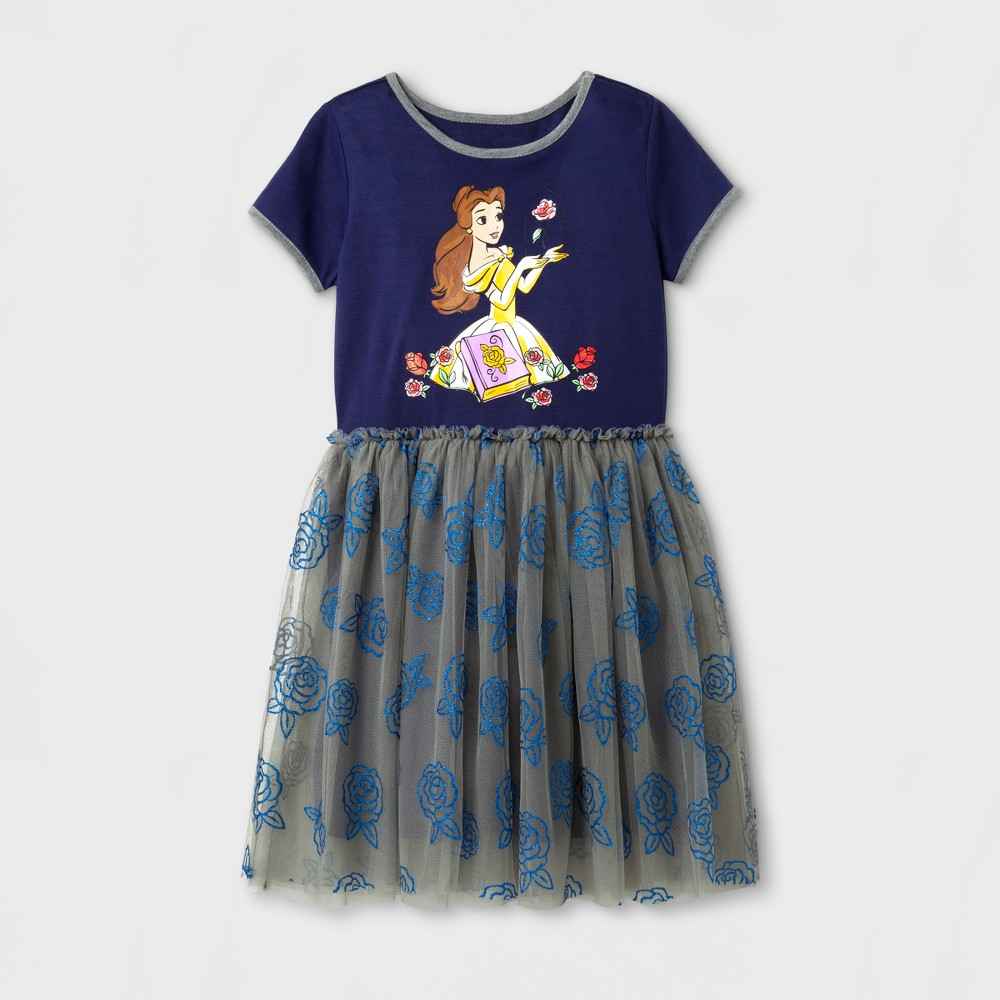 Girls Disney Princess Belle Tutu Dress - Navy - S (6-6X), Blue