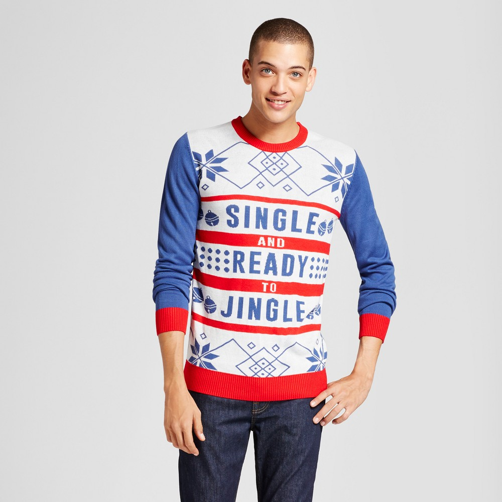 Mens Ugly Holiday Single and Ready to Jingle Sweater - Walnut & 39th White L