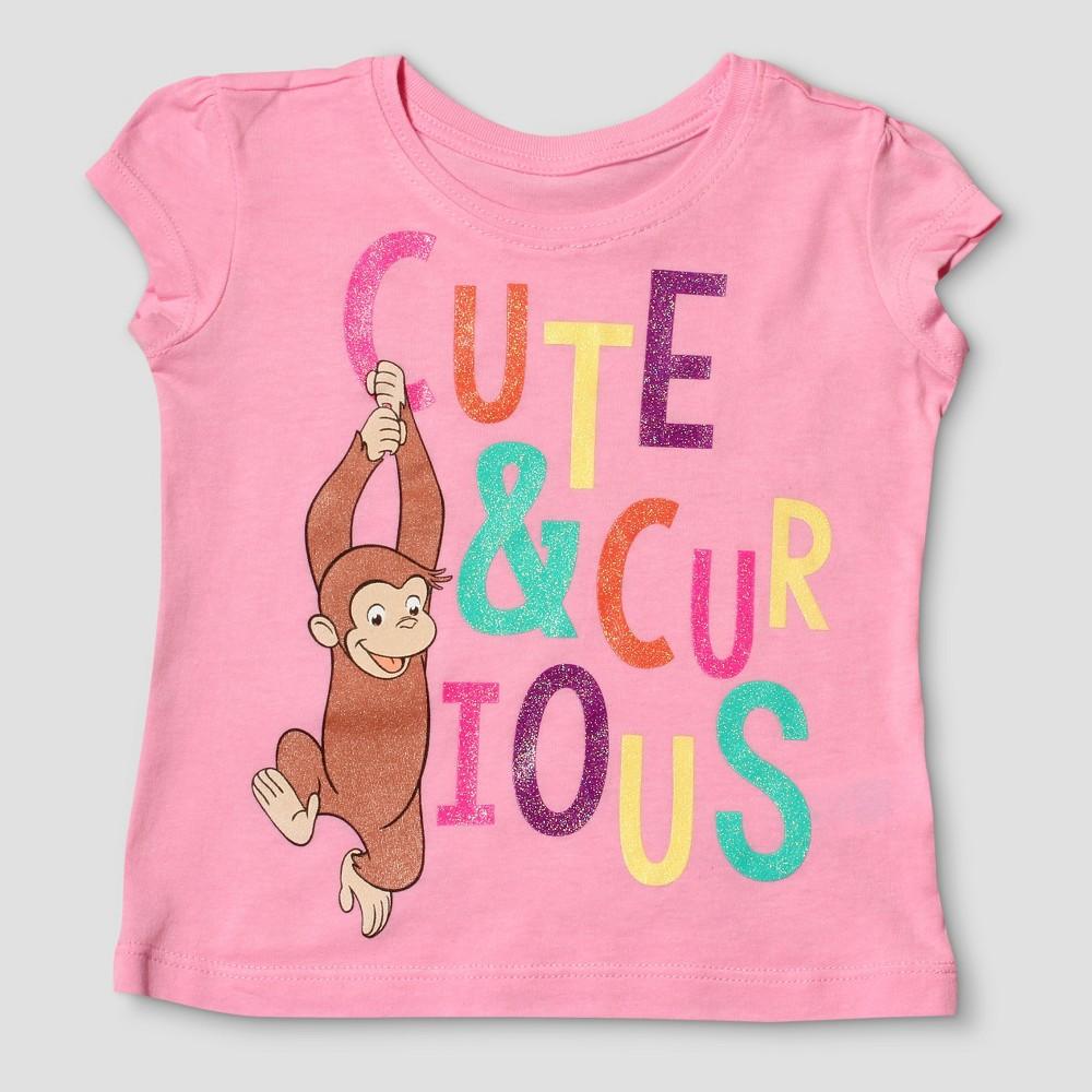 Toddler Girls Curious George Short Sleeve T-Shirt - Light Pink 3T