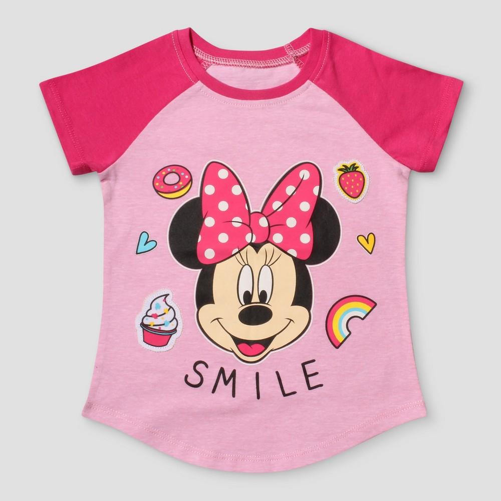Toddler Girls Disney Minnie Mouse Short Sleeve T-Shirt - Light Pink 3T