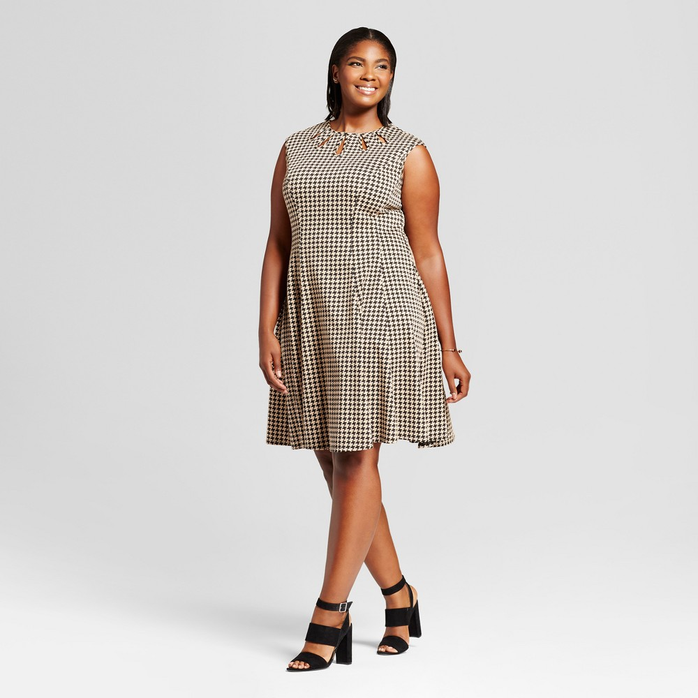 Womens Plus Size Jacquard Houndstooth Fit and Flare Dress - Melonie T - Black/Tan 14W, Brown