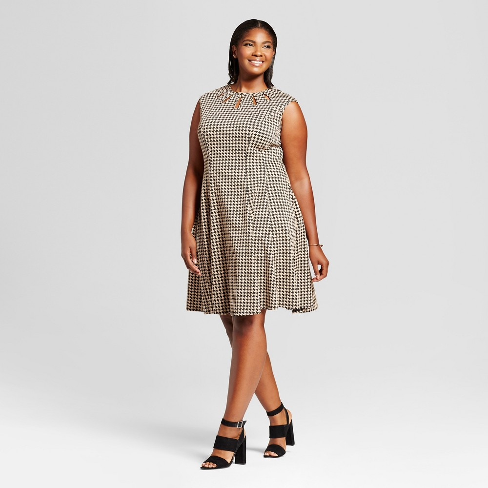 Womens Plus Size Jacquard Houndstooth Fit and Flare Dress - Melonie T - Black/Tan 16W, Brown