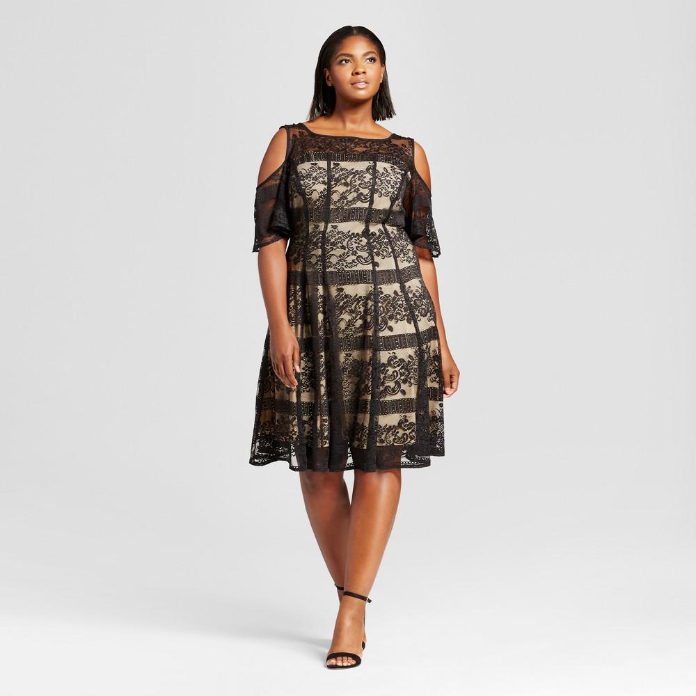 Womens Plus Size Lace Cold Shoulder Dress - Melonie T - Black/Tan 14W