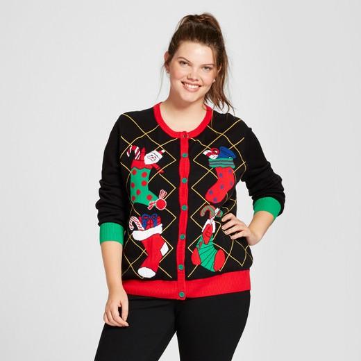 women's plus size stocked crew-neck cardigan - ugly christmas