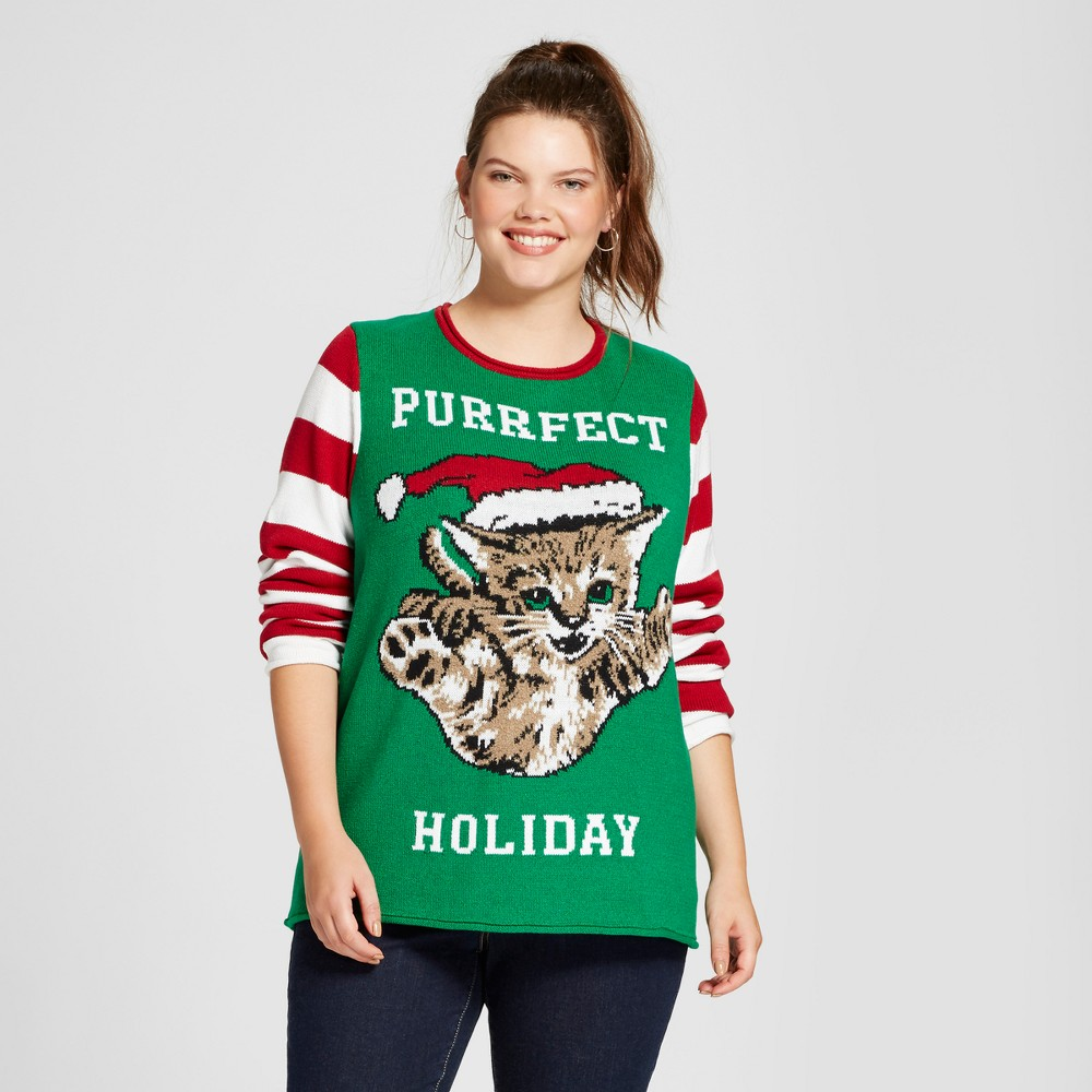 Womens Plus Size Cat Pullover Sweater - Ugly Christmas Sweater Green 2X