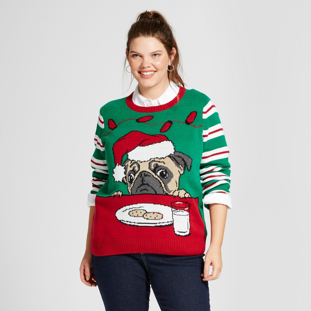 Womens Plus Size Light Up Pug Pullover Sweater - Ugly Christmas Sweater Red 3X