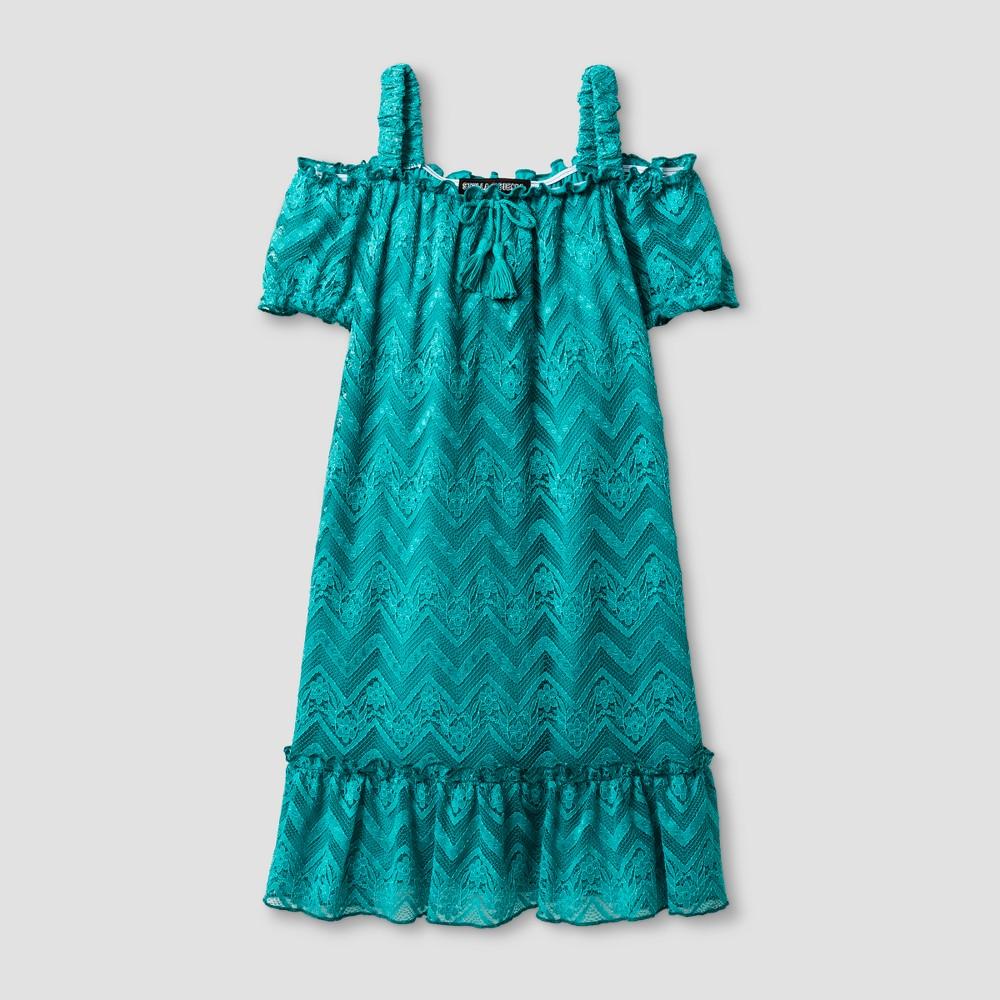 Girls Stella & Sienna Chevron Knit Lace Sundress - Bright Blue 12