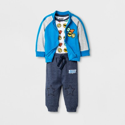 Baby Boys' Justice League® 3pc Hoodie, Bodysuit & Jogger Set - Blue 9-12M