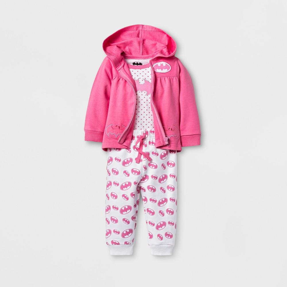 Baby Girls Batgirl 3pc Hoodie Bodysuit & Jogger Set - Pink 9-12M, Size: 12 Months