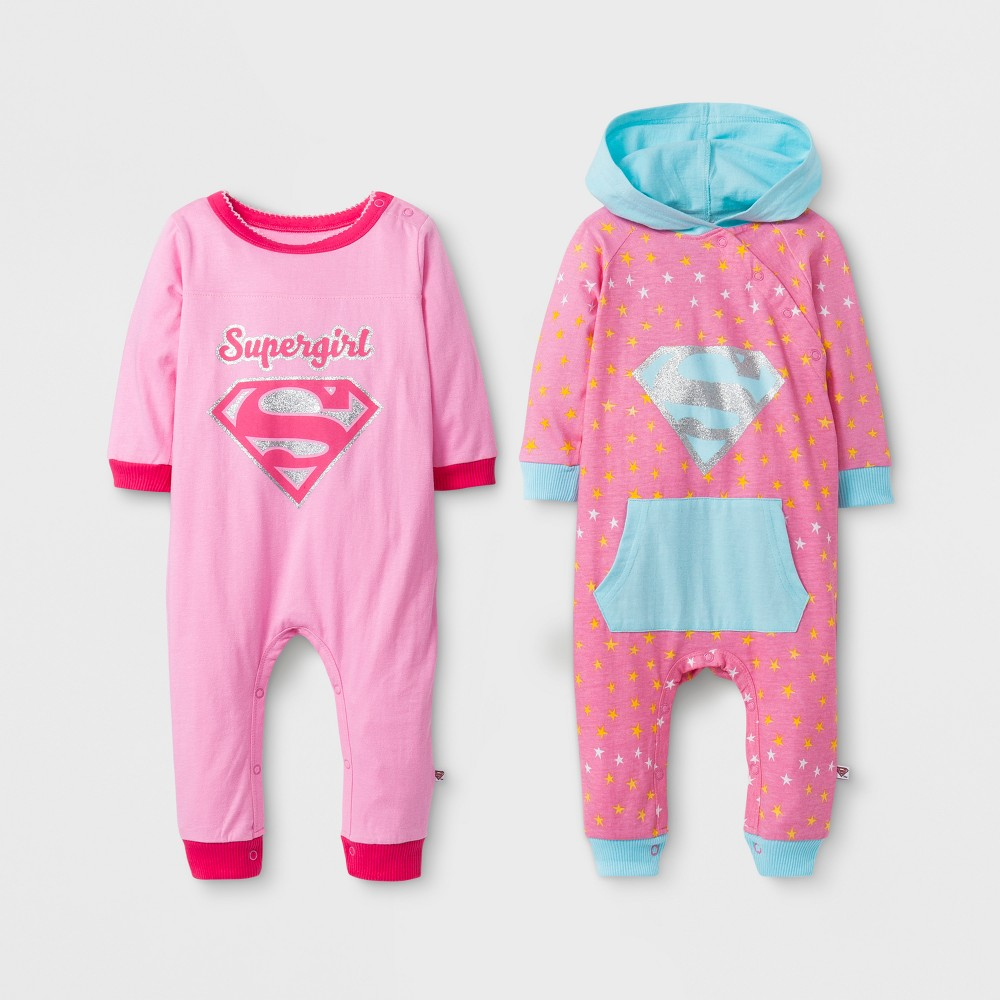 Baby Girls Supergirl 2pk Coverall Set - Pink 9-12M, Size: 12 Months
