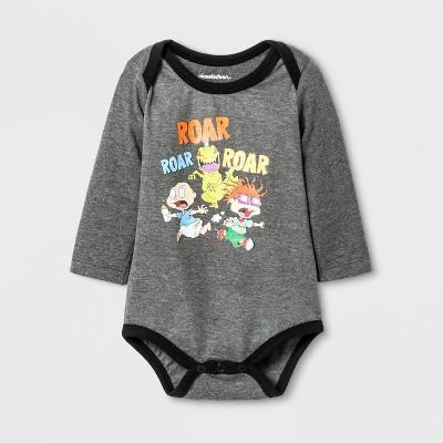 Baby Boys' Nickelodeon Rugrats® Roar Roar Long Sleeve Bodysuit - Gray 9-12M
