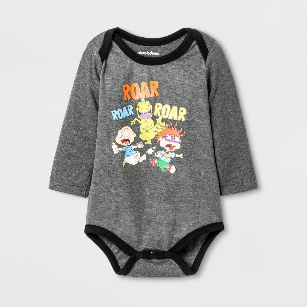 Baby Boys Nickelodeon Rugrats Roar Roar Long Sleeve Bodysuit - Gray 9-12M, Size: 12 Months