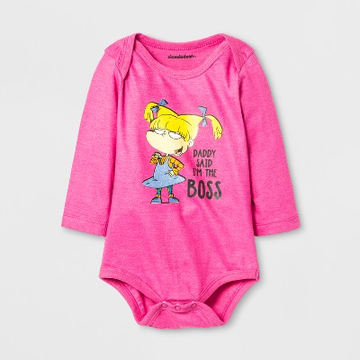 Baby Girls' Nickelodeon Rugrats® I'm the Boss Long Sleeve Bodysuit - Pink 9-12M