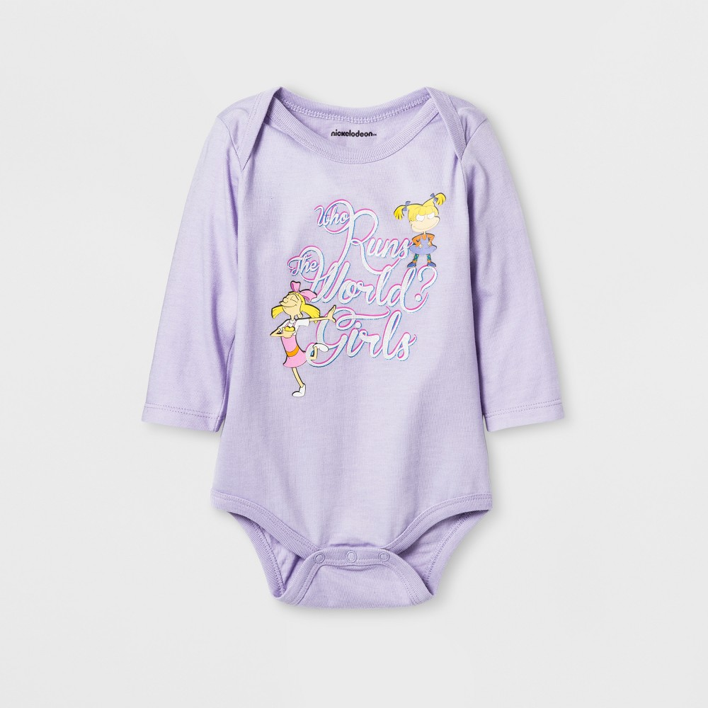 Baby Girls Nickelodeon Rugrats Who Run the World Long Sleeve Bodysuit - Blue 9-12M, Size: 12 Months