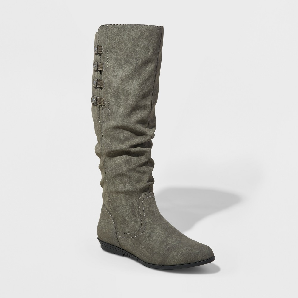 Womens Mountain Sole Frida Slouch Boots - Charcoal Heather 7