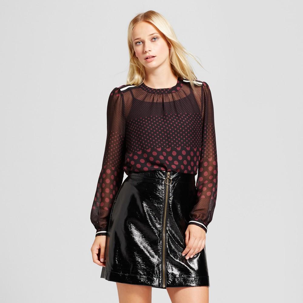 Women's Long Sleeve Rib Trim Blouse - Who What Wear Black/Burgundy Polka Dot XS, Gray