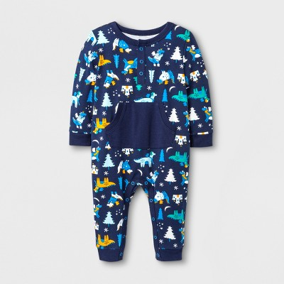Baby Boys' Dragons Knit Romper - Cat & Jack™ Nightfall Blue 6-9M