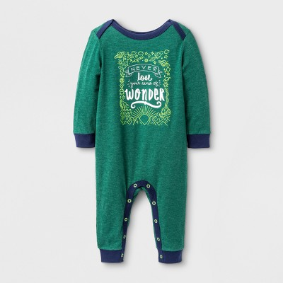 Baby Boys' Wonder Knit Romper - Cat & Jack™ Dark Green 0-3 M