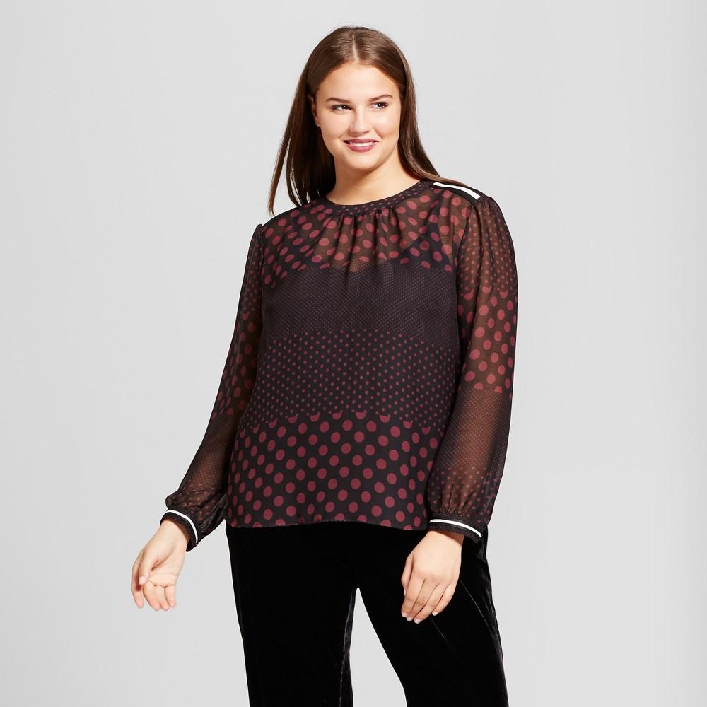 Women's Plus Size Long Sleeve Rib Trim Blouse - Who What Wear Black/Burgundy Polka Dot X, Brown