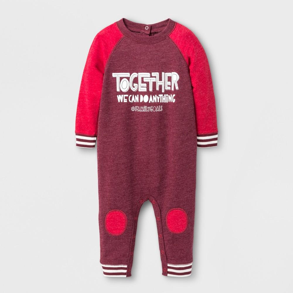 Baby Boys Together Knit Romper - Cat & Jack Burgundy 6-9 M, Red