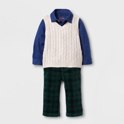 Baby Boys' Vest, Shirt and Corduroy Pants Set - Cat & Jack™ Nightfall Blue 6-9M