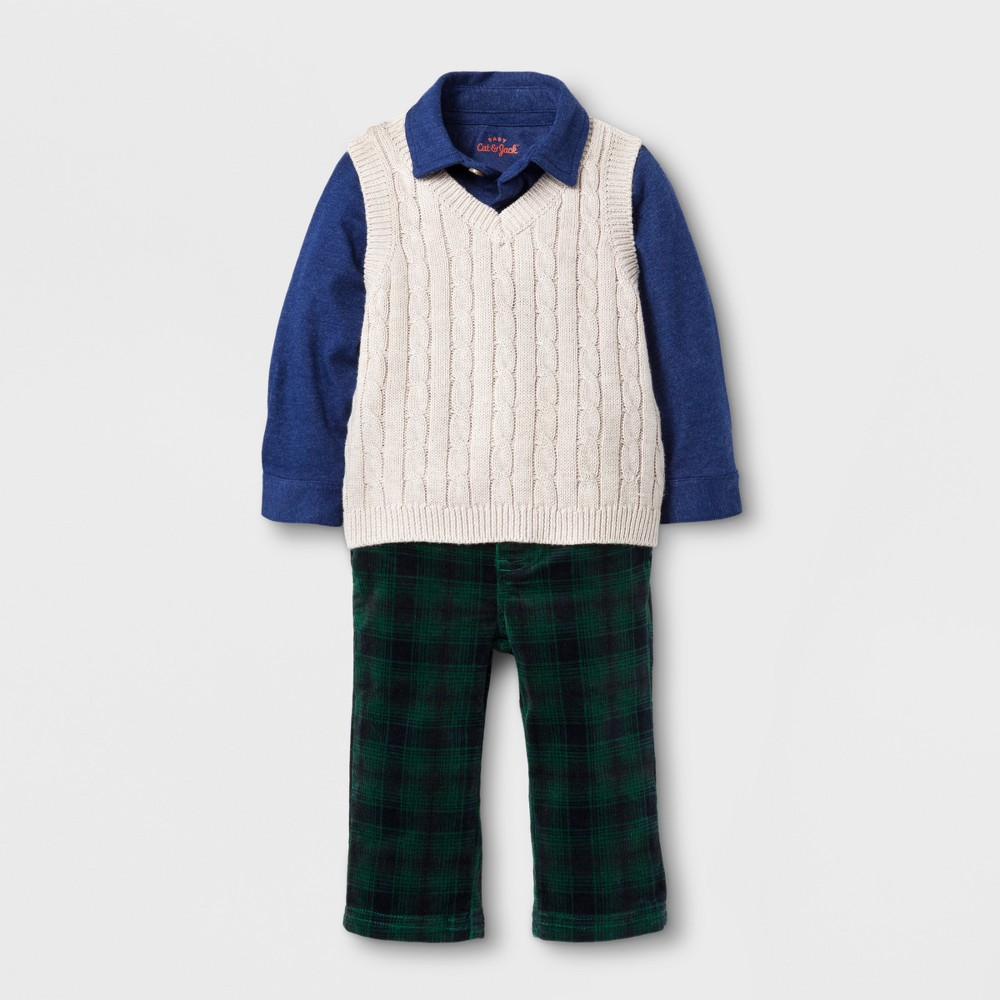 Baby Boys Vest, Shirt and Corduroy Pants Set - Cat & Jack Navy 12 M, Size: 12 Months, Blue