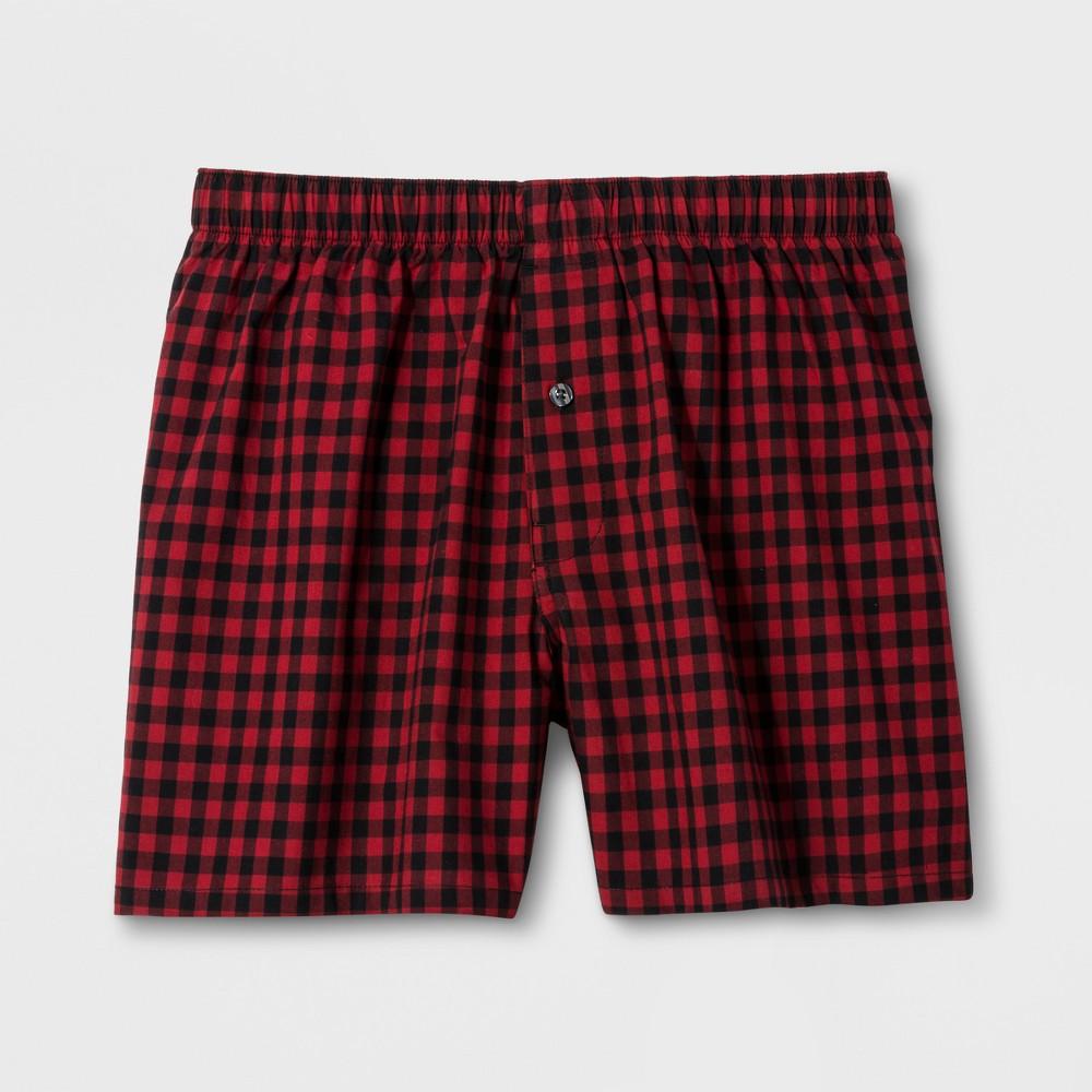 Mens Buffalo Plaid Woven Boxer Shorts - Goodfellow & Co Red XL